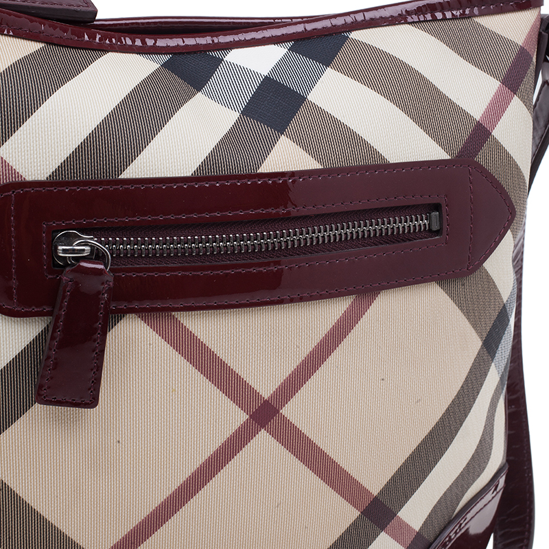 Burberry Burgundy Patent Leather Trim Nova Check Crossbody SBag