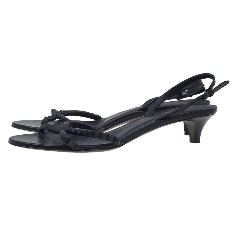 Bottega Veneta Black Leather Studded Slingback Sandals Size 41