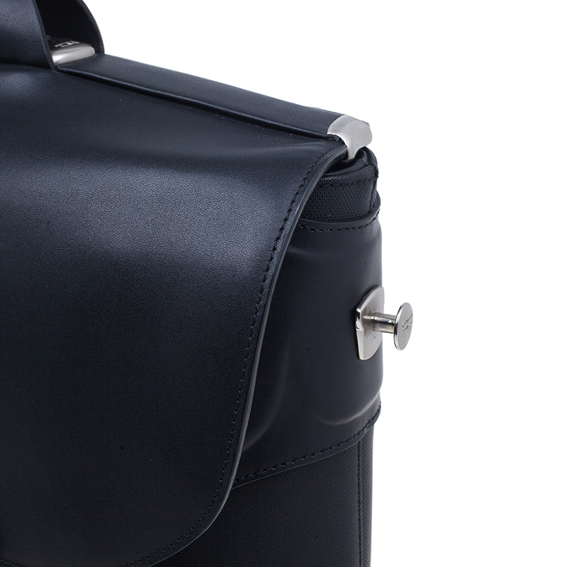 Tumi Black Leather Formula T Compartment Bag with Outer Compartment