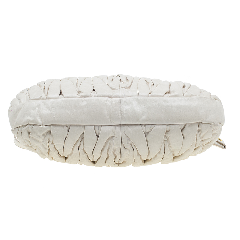 Miu Miu Light Ivory Leather Matelasse Hobo