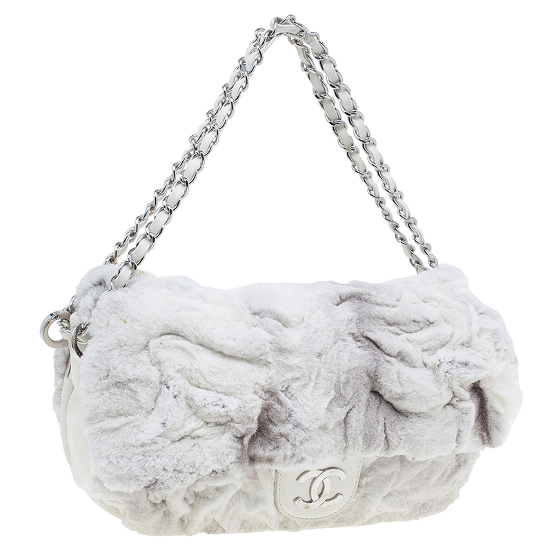 Chanel White Rabbit Fur and Leather Flap Bag