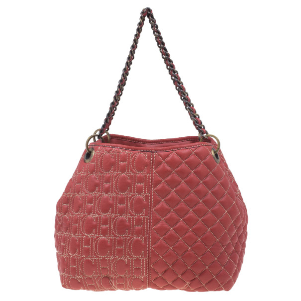 Carolina Herrera Red Quilted Leather Tote