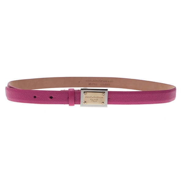 Dolce and Gabbana Pink Leather Logo Plaque Skinny Belt 80CM