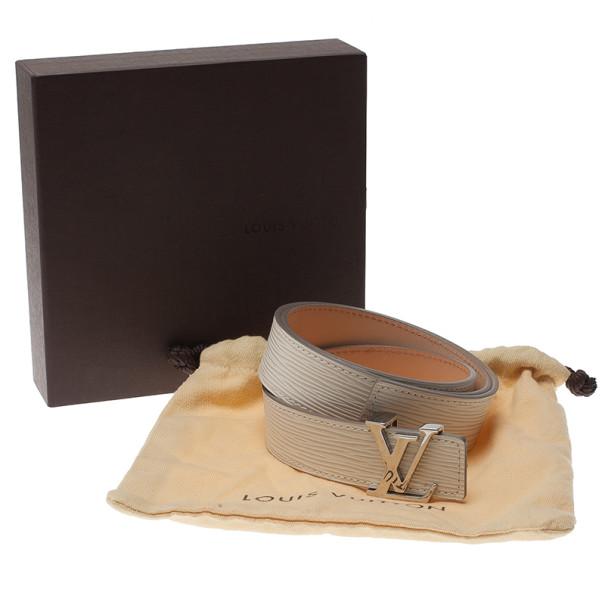 Louis Vuitton Ivory Epi Leather Initials Belt 85CM