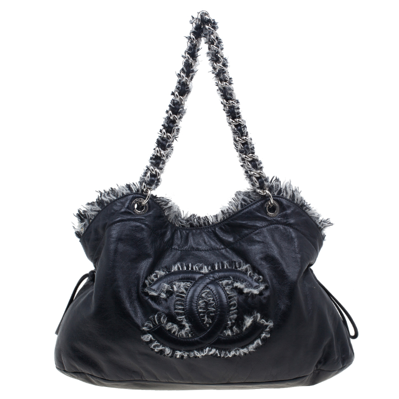 Chanel Black Lambskin Funny Tweed Tote