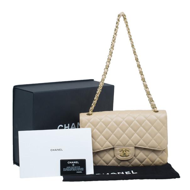 Chanel Beige Quilted Caviar Leather Classic Jumbo Double Flap Bag