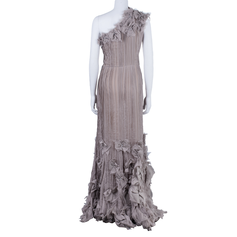 Tadashi Shoji Grey Chiffon Embellished Gown L