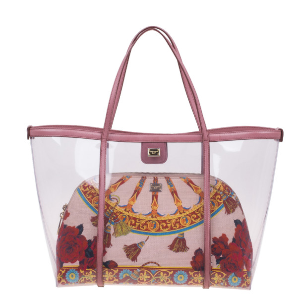 Dolce and Gabbana Pink Leather-Trim PVC Escape Tote