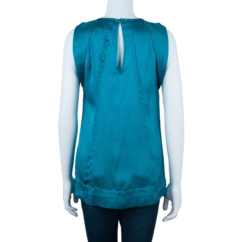 Diane Von Furstenberg Turquoise Silk Ayala Top S