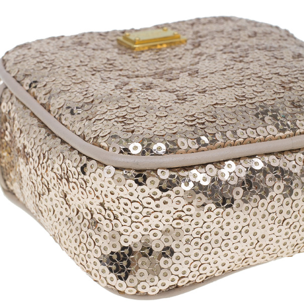 Dolce and Gabbana Gold Sequins Miss Glam Crossbody Bag
