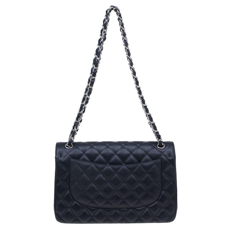 Chanel Black Quilted Caviar Leather Large Classic Double Flap Bag