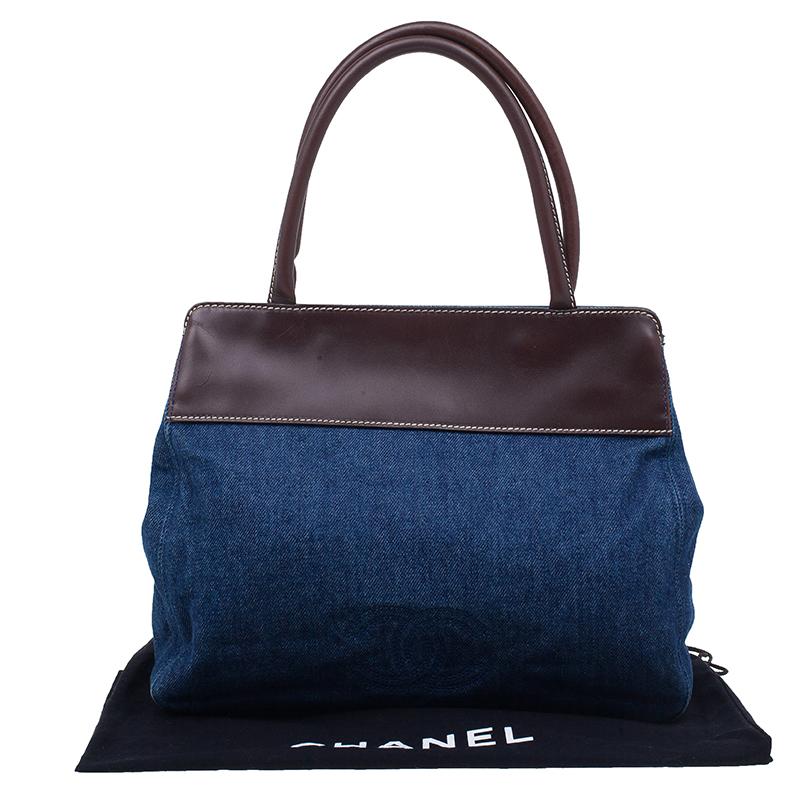 Chanel Blue Denim Leather Vintage CC Logo Tote