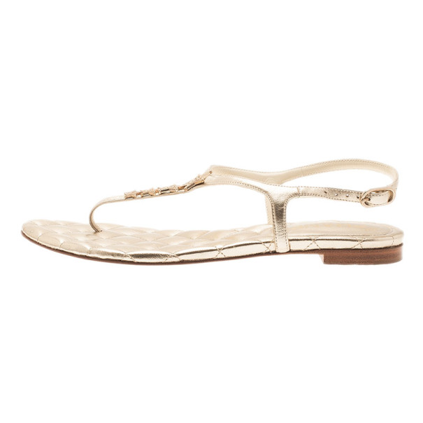 Chanel Gold Leather Star T-Strap Thong Sandals Size 37.5