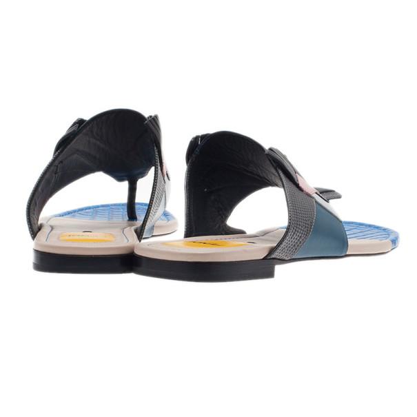 Fendi Bugs Paneled Leather Thong Sandals Size 37