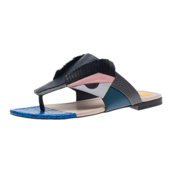 Fendi Bugs Paneled Leather Thong Sandals Size 37