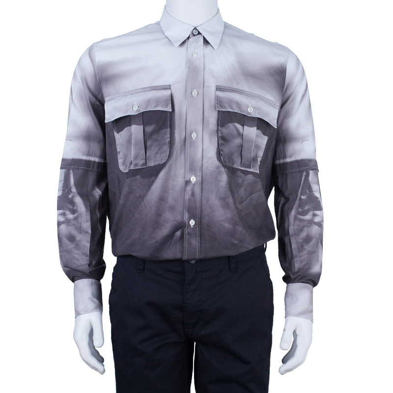 Alexander McQueen Grey and White Men's Shirt XL