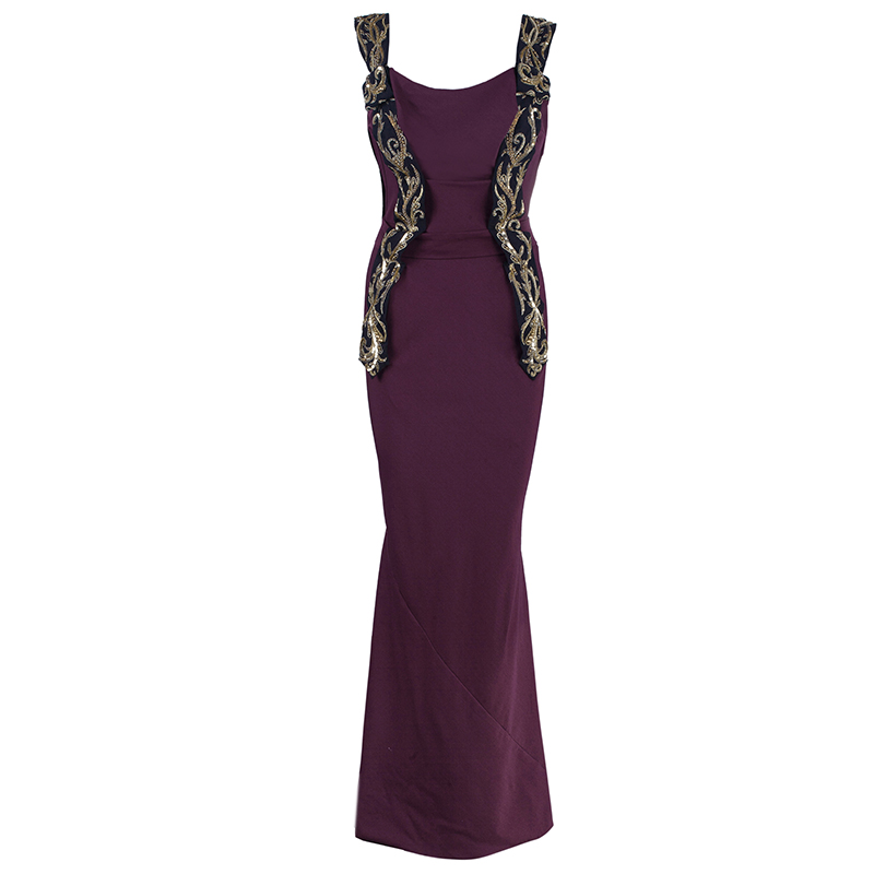 Vivienne Westwood Plum Flute Embroidered Evening Gown S