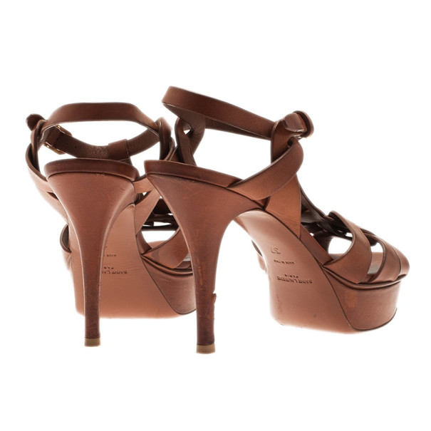 Saint Laurent Paris Brown Leather Tribute Platform Sandals Size 37