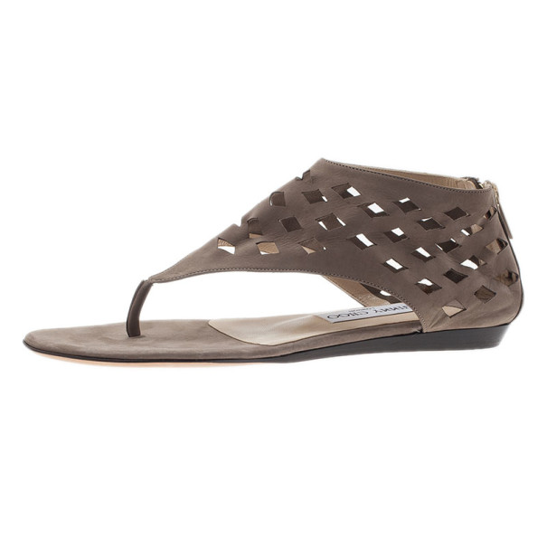 Jimmy Choo Beige Suede Cutout Gladiator Flat Sandals Size 37.5