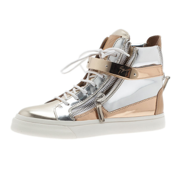 Giuseppe Zanotti Metallic Leather High Top Sneakers Size 37.5