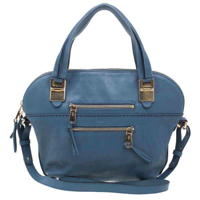 Chloe Indigo Blue Calfskin Leather Medium Angie Shoulder Bag