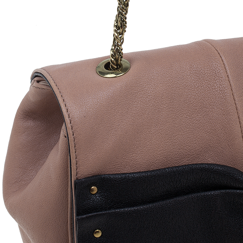 Chloe Beige and Black Leather June Bow Small Shoulder Bag