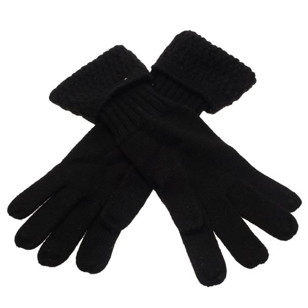 Chanel Black CC Cashmere Gloves