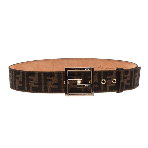 Fendi Brown Zucca Canvas FF Unisex Buckle Belt 85CM