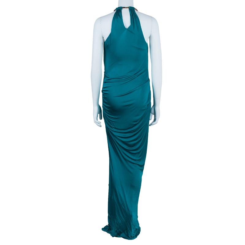 Roberto Cavalli Blue Halterneck Dress S