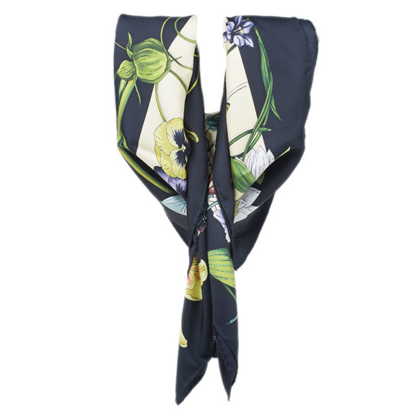 Gucci Black and Yellow Floral Silk Square Scarf