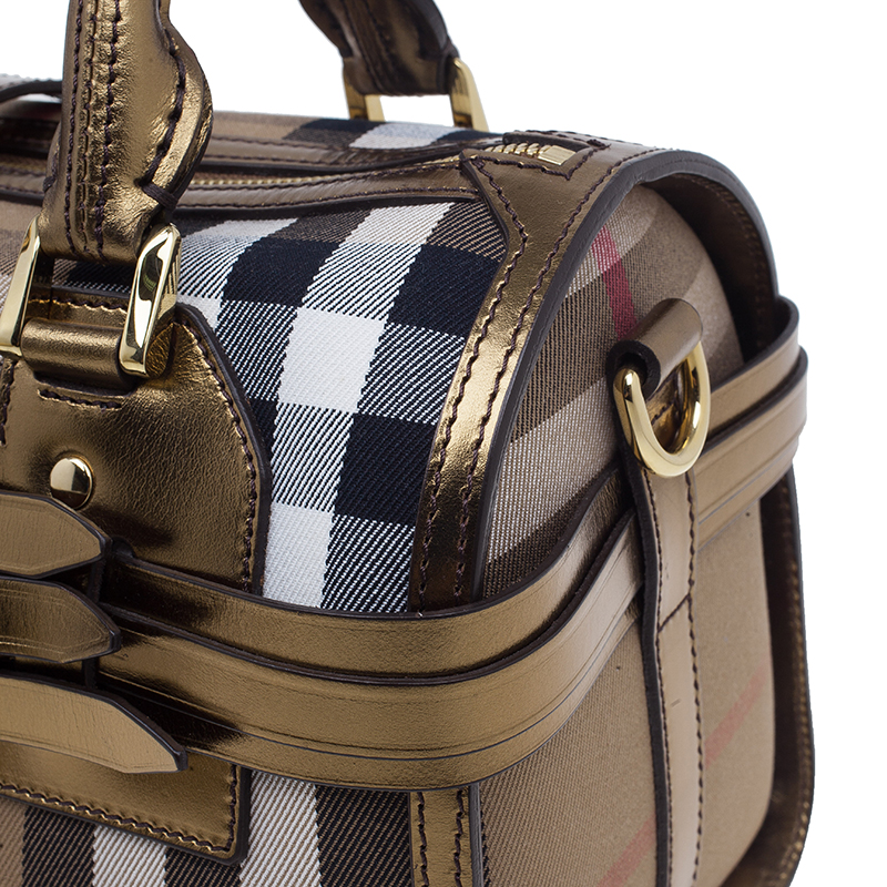 Burberry Gold Leather Trim Canvas House Check Bowling Bag