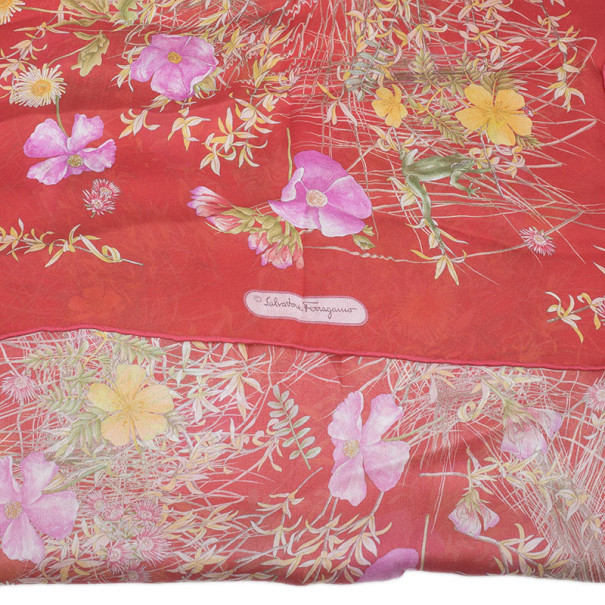 Salvatore Ferragamo Red Floral Silk Stole