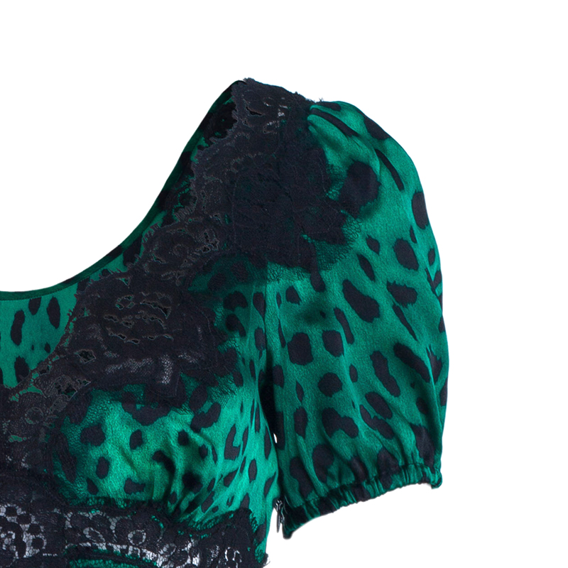 Dolce And Gabbana Green Silk Lepoard Print Top M