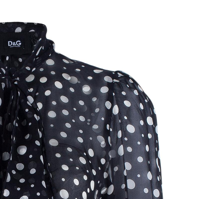 D&G Black Polka Dot Neck-Tie Top M