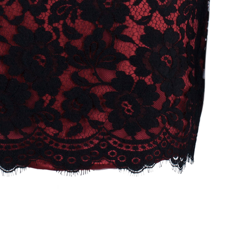 D and G Red Black Lace Fitted Dress M