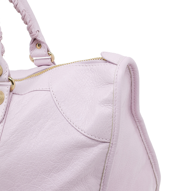 Balenciaga Pink Leather Giant 12 Gold Work City Bag