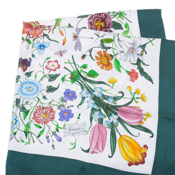 Gucci White and Green Silk Floral Square Scarf