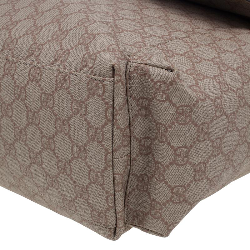 Gucci Beige Coated Canvas Diaper Messenger Bag