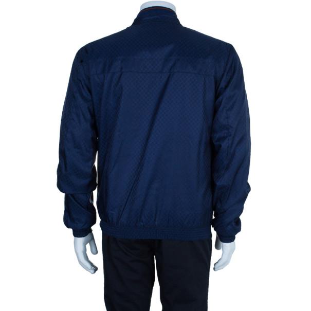 Gucci Navy Nylon Monogram Men's Bomber Jacket L