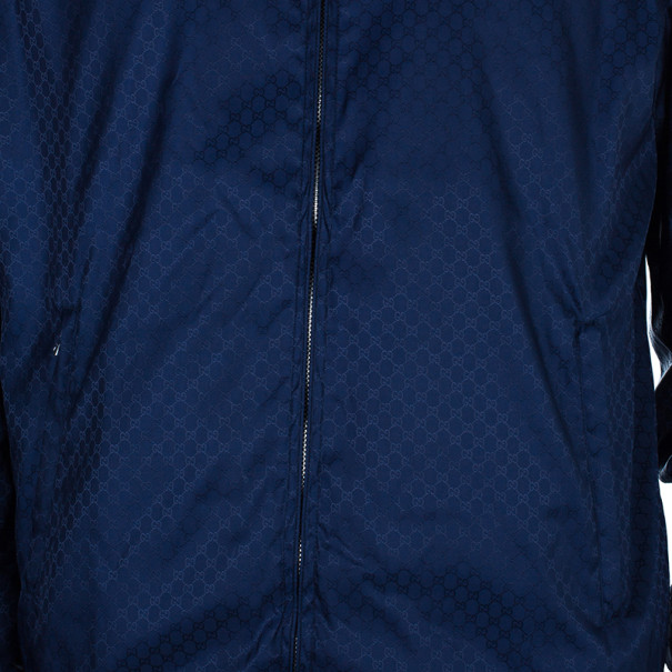Gucci Navy Nylon Monogram Men's Bomber Jacket L