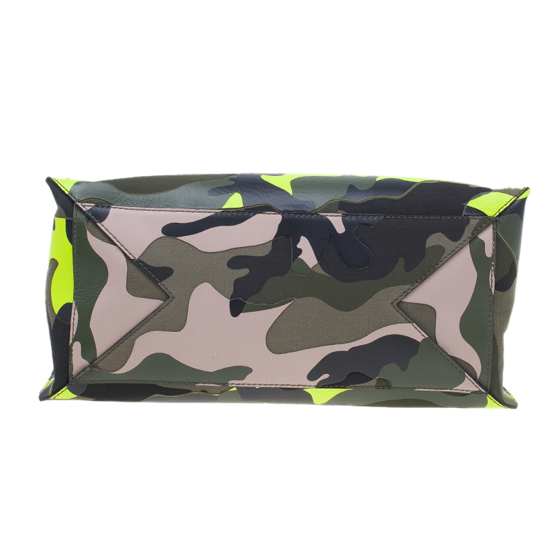 Valentino Camouflage Leather Canvas Limited Edition Rock Stud Tote