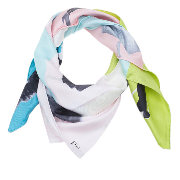Dior Color Block Printed Square Scarf