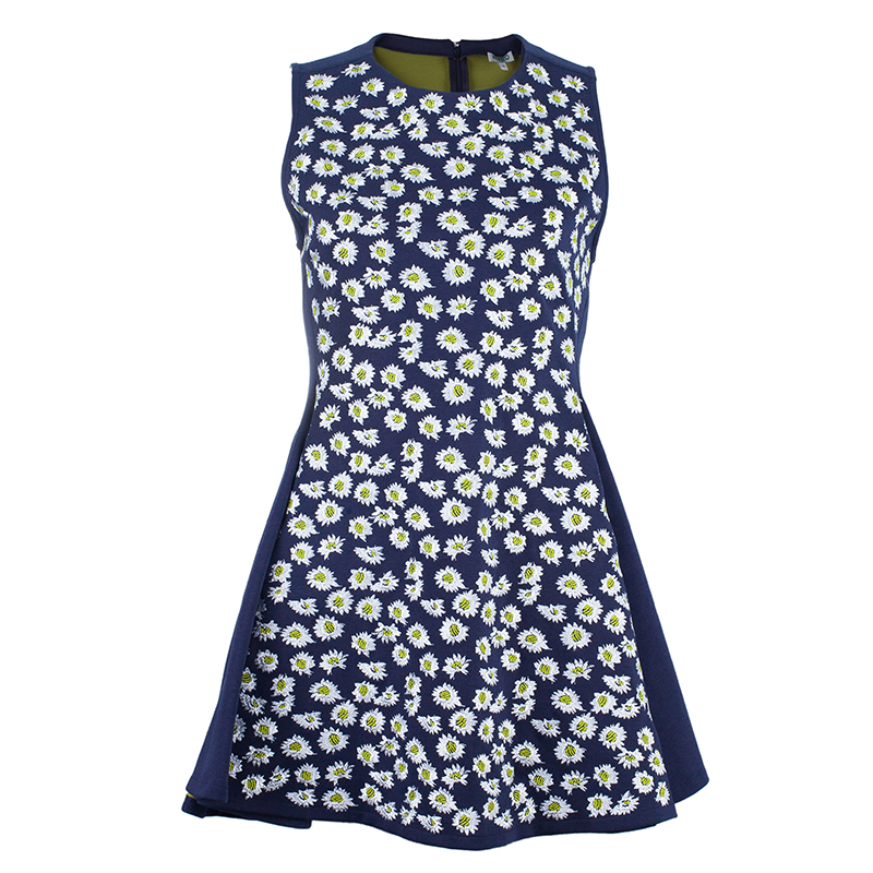 Kenzo Navy Embroidered Flare Dress M
