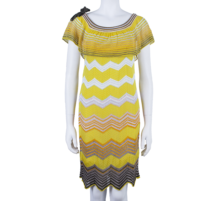 M Missoni Yellow Off-Shoulder Knit Dress M