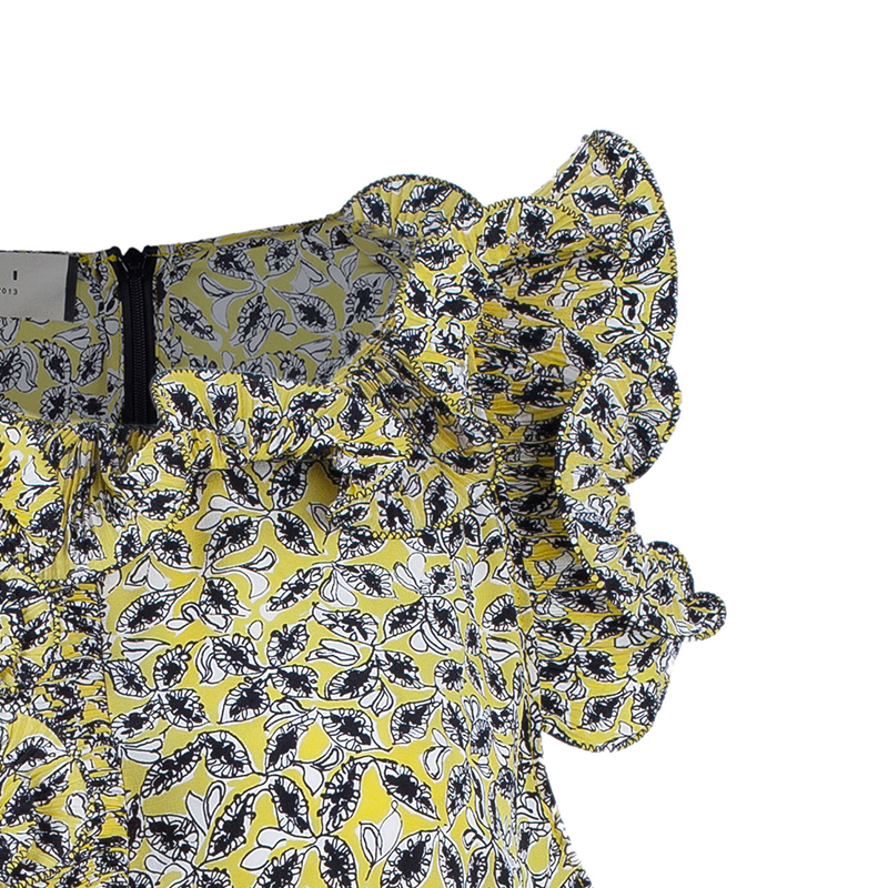 Marni Yellow Ruffle Printed Long Top M