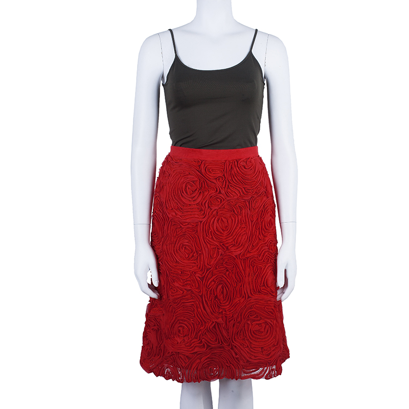 Escada Red Rose Detail Skirt S