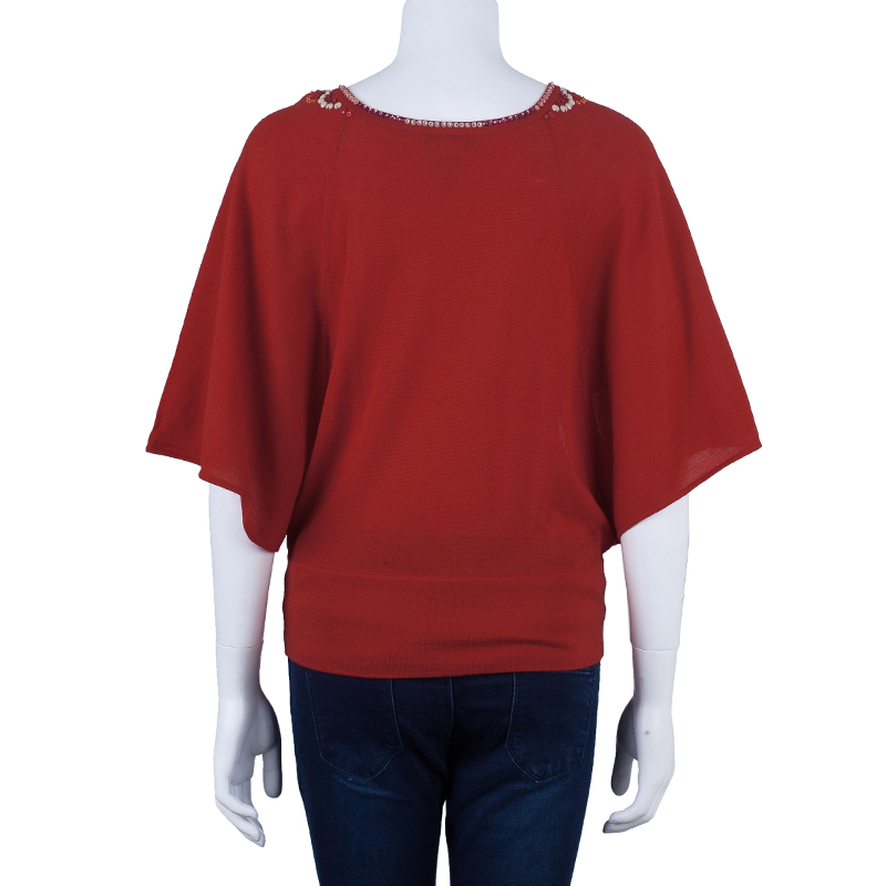 Escada Red Knit Embellished Top S