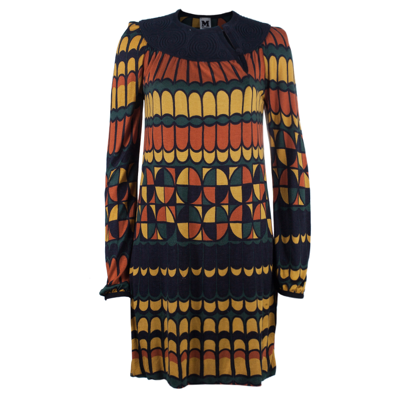 M Missoni Multicolor Patterned Long Sleeve Knit Dress S