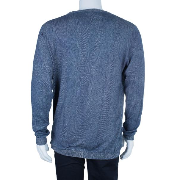 Fendi Indigo Scale Print Men's Sweater XXL