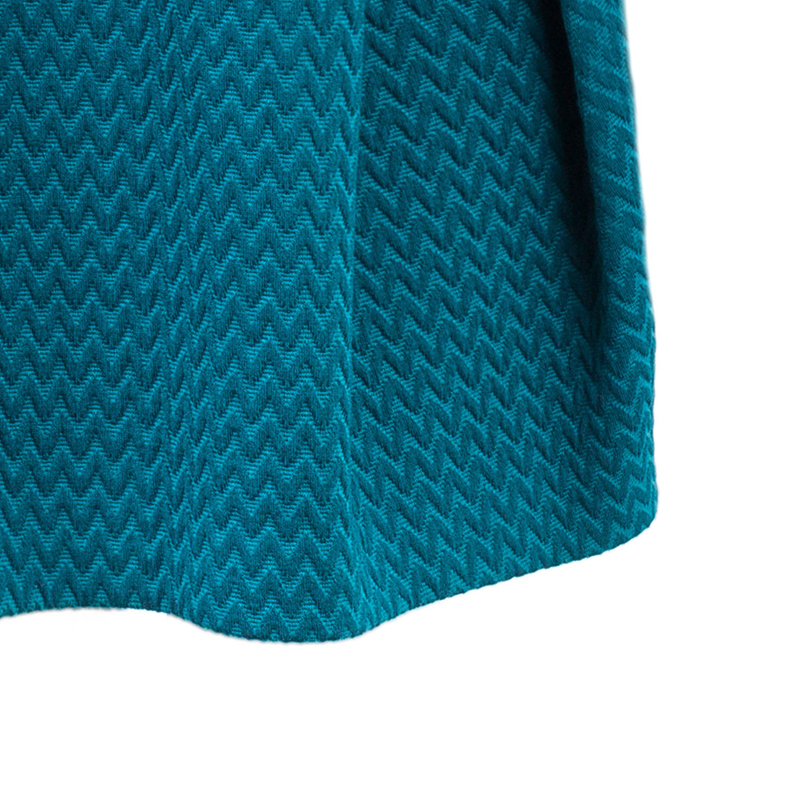 M Missoni Blue Chiffon Textured Belted Dress M